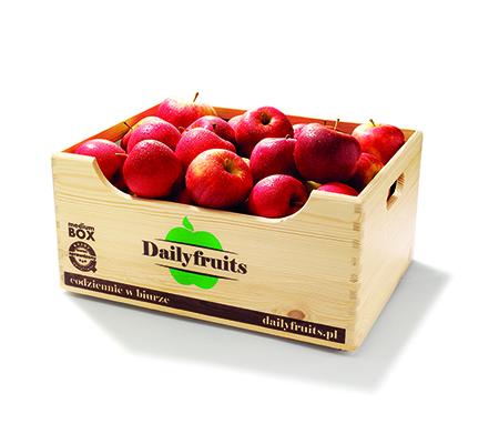 dostawy owoców do firm - skrzynka jabłek